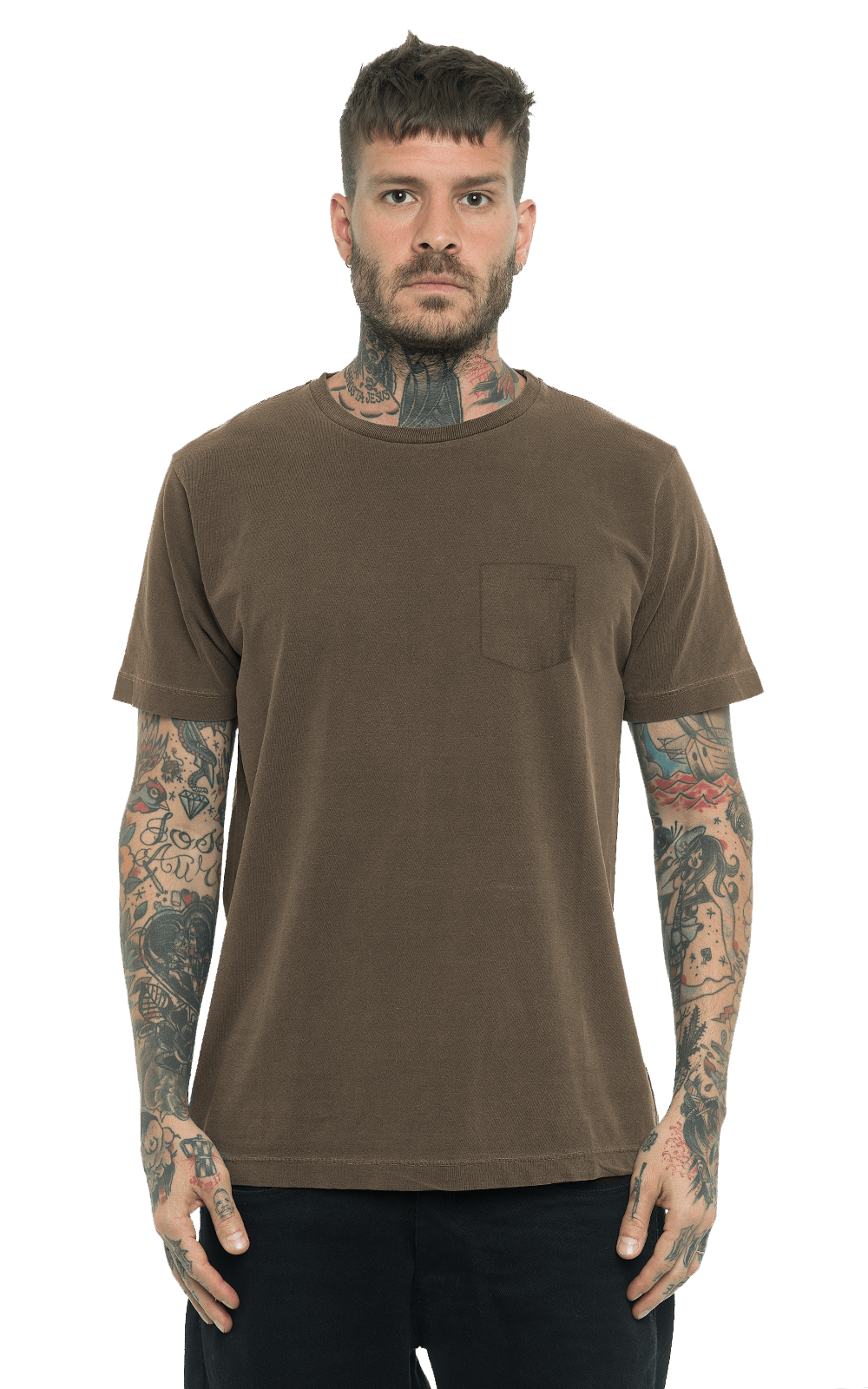 Camiseta_TinturadaBolso_Brown_Frente