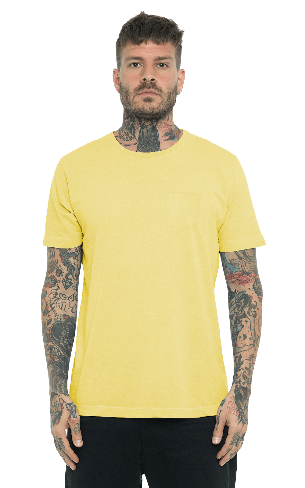 Camiseta_TinturadaBolso_Yellow_Frente