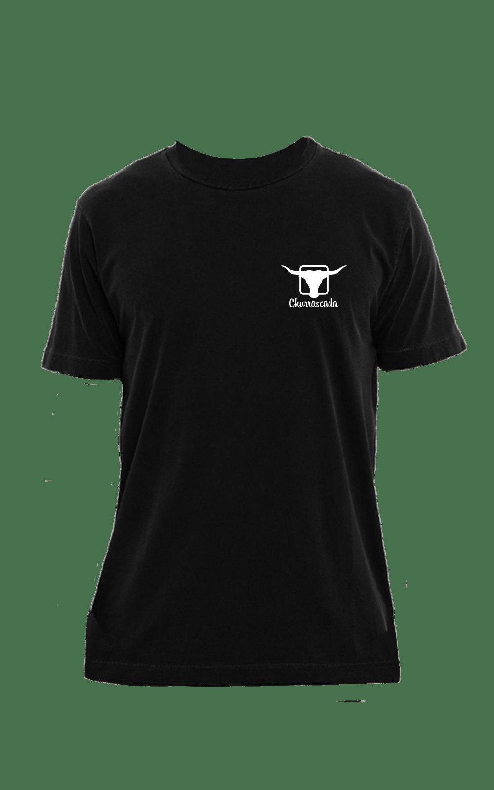 Camiseta_Churrascada_LogoWhite_Black_Frente