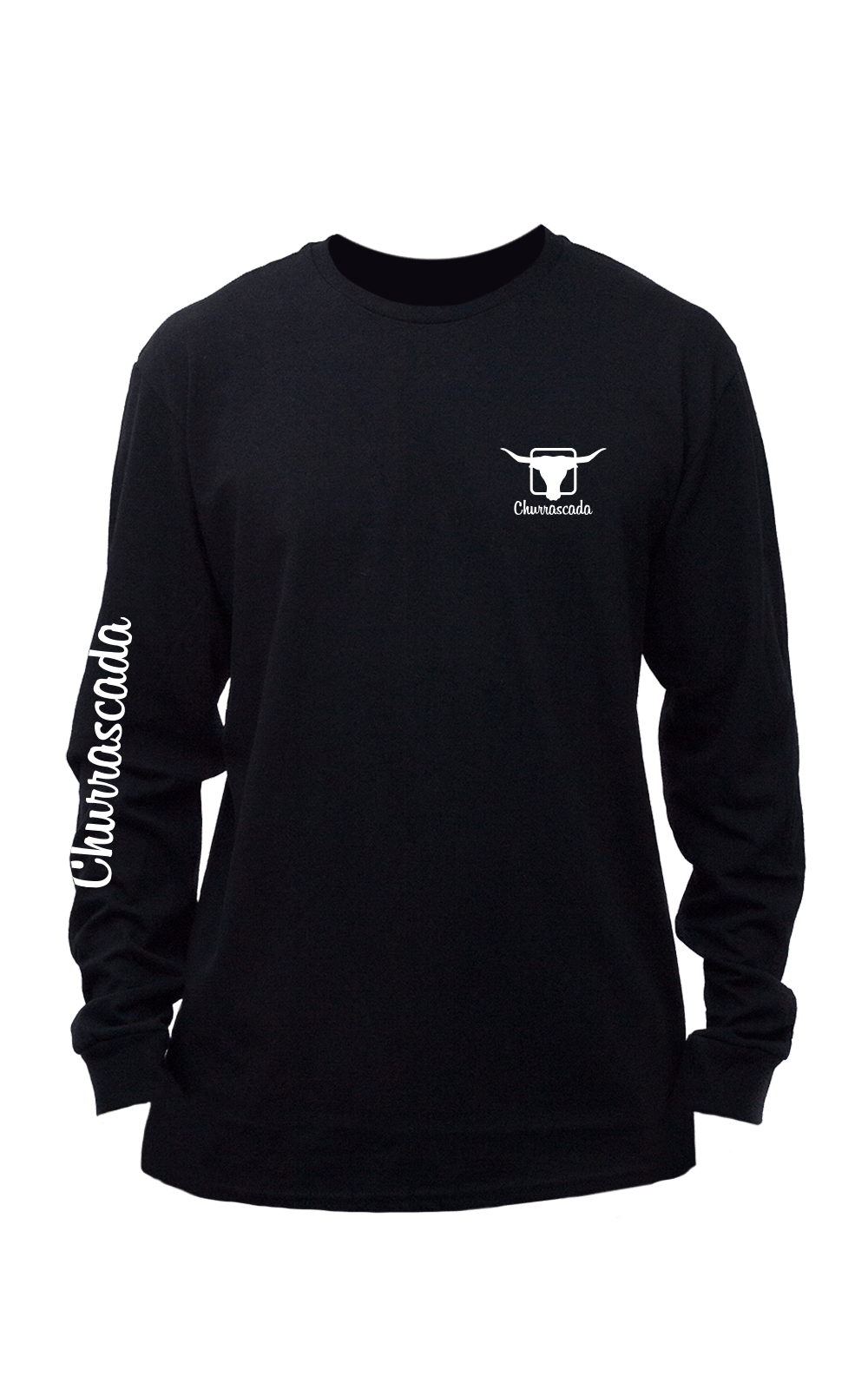 Camiseta_Churrascada_LogoMLWhite_Black_Frente