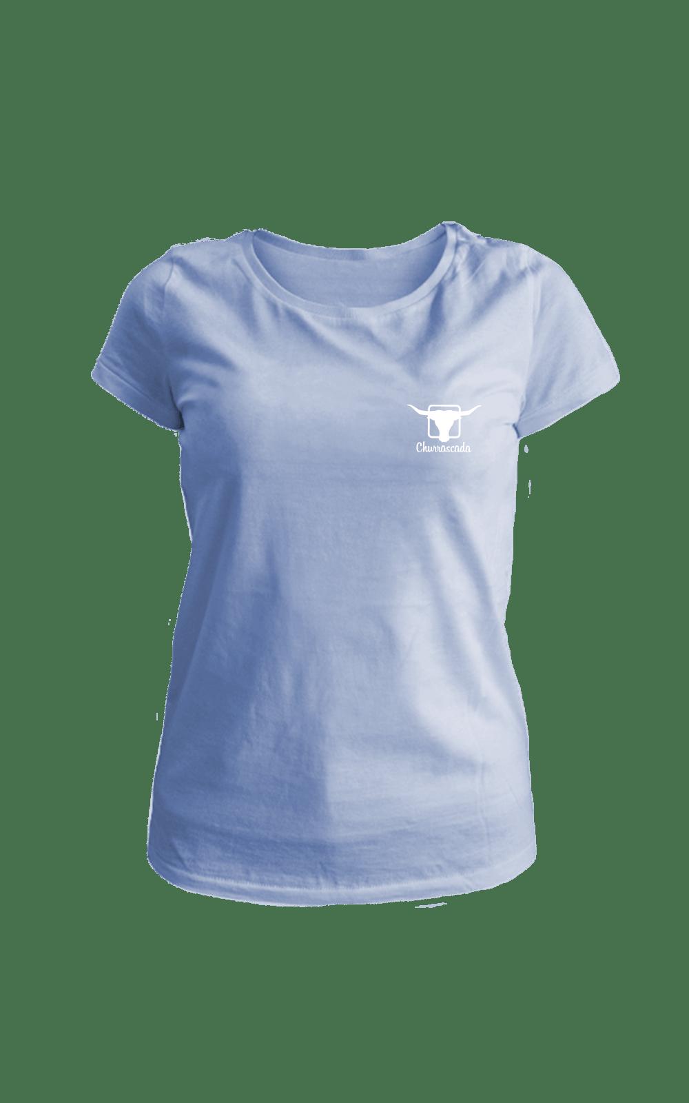 Camiseta_BabyLook_Churrascada_LogoWhite_SoftBlue_Frente